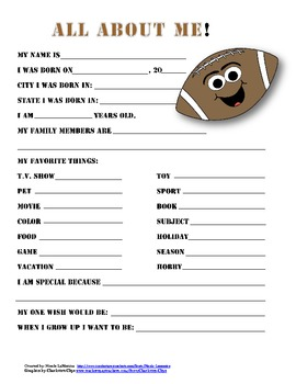"""""""All About Me"""" football themed student questionnaire"""