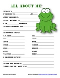 """All About Me"" frog themed student questionnaire"