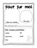 """All About Me poster """"Tout sur moi"""" French First Day Activity"""