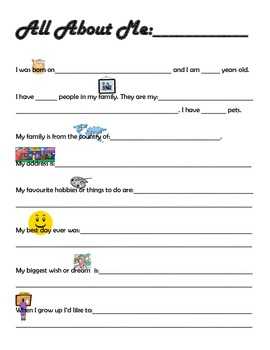 """""""All About Me"""" sheet for special education students and st"""