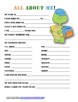 """""""All About Me"""" turtle themed student questionnaire"""