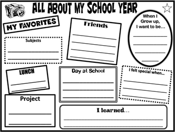 All About My School Year Memory Page