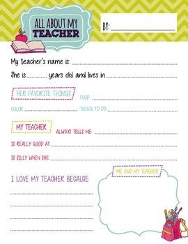 All About My Teacher Sheet
