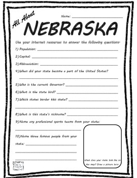 All About Nebraska - Fifty States Project Based Learning W