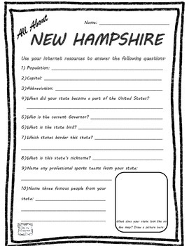 All About New Hampshire - Fifty States Project Based Learn