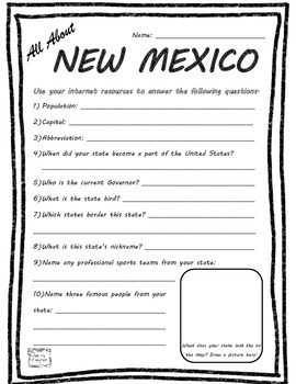 All About New Mexico - Fifty States Project Based Learning