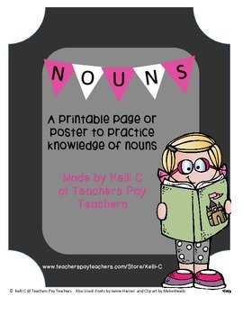 Searching for Nouns Poster (Great for Vocabulary and Langu