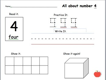 All About Numbers 0-10 Homework/ Practice/ Worksheets