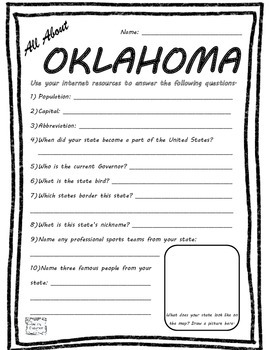 All About Oklahoma - Fifty States Project Based Learning W