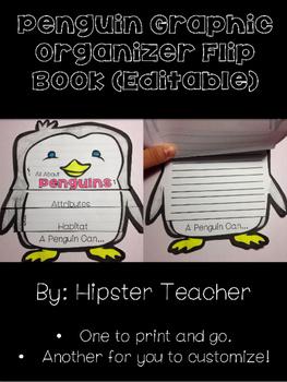 All About Penguins Flip Book Organizer (EDITABLE)