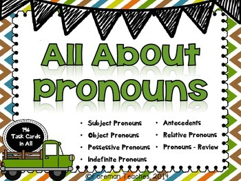 All About Pronouns - 7 Sets of Task Cards