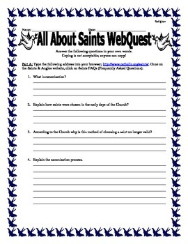 All About Saints WebQuest