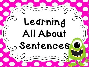 All About Sentences Posters - Monster Theme