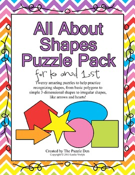 All About Shapes Puzzle Pack for Kindergarten and First Grade