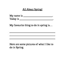 All About Spring Writing Worksheet