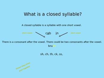 Closed and Open Syllables Minilessons Breaking Words into