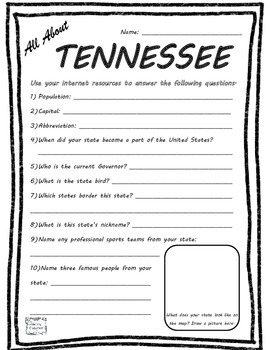 All About Tennessee - Fifty States Project Based Learning