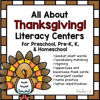 All About Thanksgiving Literacy Centers for Preschool, Pre