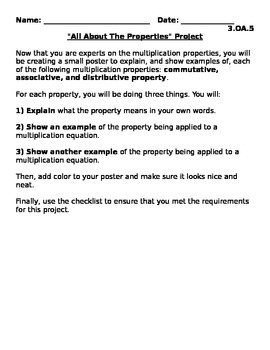 """""""All About The Properties"""" Project 3.OA.5"""