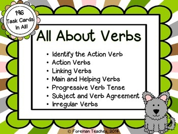 All About Verbs - 7 Sets of Task Cards