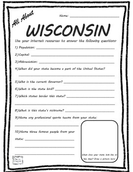 All About Wisconsin - Fifty States Project Based Learning
