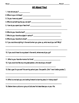 All About You Student Interest Worksheet