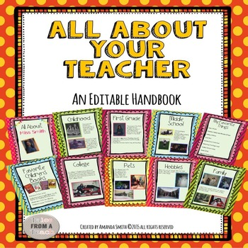 All About Your Teacher: An Editable Book To Help Your Stud