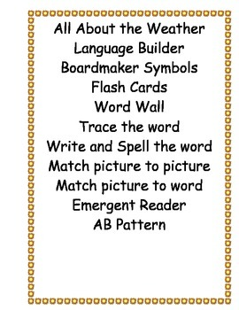 All About the Weather/ Language Builder/ABA/Verbal ABA/ESO