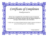 All Ages Certificate of Completion from Therapy