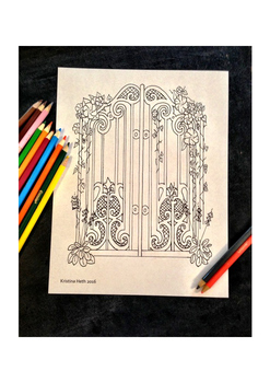 All Ages Coloring Book Page Secret Gate Hand Drawn Illustr
