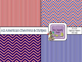 All American Chevrons & Stripes {4-12x12 Digital Papers fo