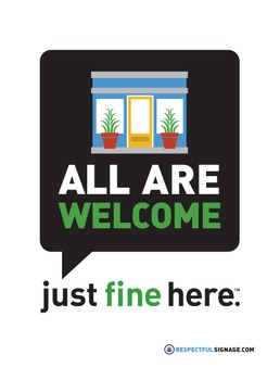 All Are Welcome - Just Fine Here - Decal
