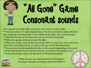 """""""All Gone"""" Uno Game-consonant letter sounds"""