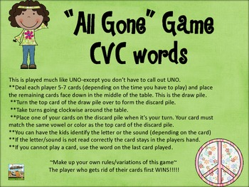 """All Gone"" Uno Game-CVC set"