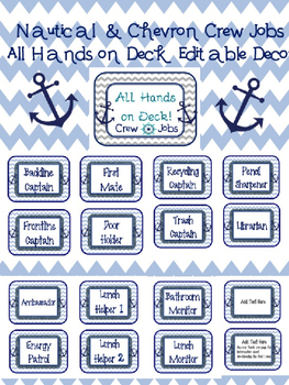 Nautical & Chevron Crew Job Chart Editable