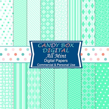 All Mint Green Digital Papers