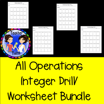 All Operations Integer Drill/ Worksheet Bundle