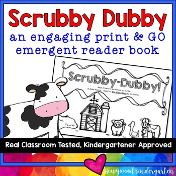 """""""Scrubby-Dubby"""" Engaging Emergent Reader Book! Learn Sight"""