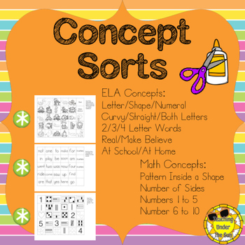 All Sorts of Sorts; Concept Sorts, Words, Numbers, Shapes,