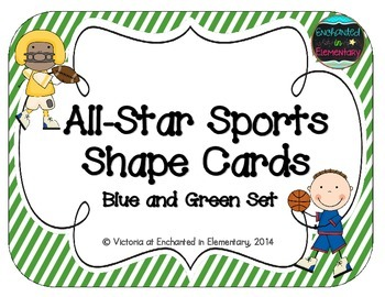 All-Star Sports Shape Cards: Blue and Green Stripes Set