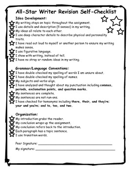 All-Star Writer Revision Self-Checklist
