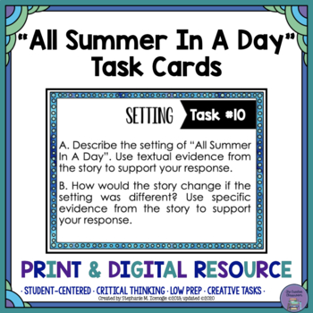 """""""All Summer in A Day"""" by Ray Bradbury Task Cards"""