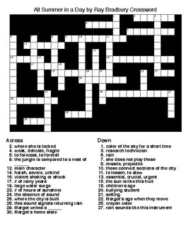 All Summer in a Day by Ray Bradbury Crossword & Word Search