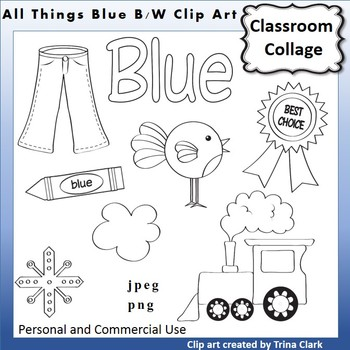 Blue Things Clip Art  Line Drawing B/W  personal & commercial use