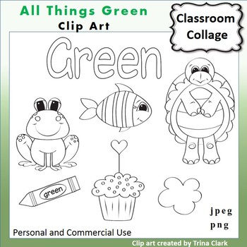 Green Things Clip Art  Line Drawing B/W  personal & commer