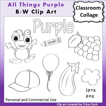 Purple Things Clip Art  Line Drawing B/W  personal & comme