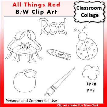 Red Things Clip Art  Line Drawings B/W  personal & commercial use