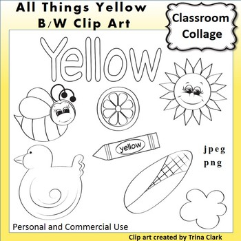 Yellow Things Clip Art  Line Drawings B/W  personal & comm