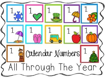 All Through the Year Calendar Numbers White Background