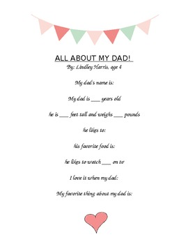 All about My Dad printable